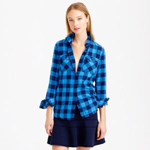 J CREW Flannel Shirt Brilliant Sea Check Collared